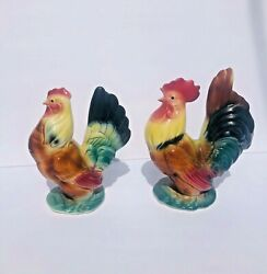 """Vintage Porcelain Hen And Rooster Figurines Colorful Pair Royal Copley Chickens 8"""""""