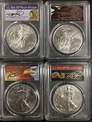 2021-p Pcgs Ms70 Silver Eagle 4 Coins Set Emergency Issue