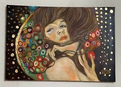 Gustav Klimt Painting On Canvas Signed And Stamped Hand Carved