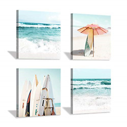 Beach Canvas Wall Art Painting: Summer Surfboard and Umbrella on Beach Picture x