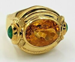 18k Yellow Gold Ring Oval Citrine Center- 2 Emeralds Vintage Size 6.5 Usa