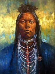 Original Oil Painting Native American Indian Shaman Traditional Western Art