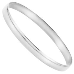 6mm 14k Yellow Or White Gold Solid Half Round Bangle Bracelet 7.75 In
