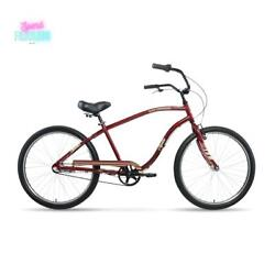 Apollo Beach Commander 26 Cruiser Bike 3 Speed Bicycle Aluminum Frame Deep Red