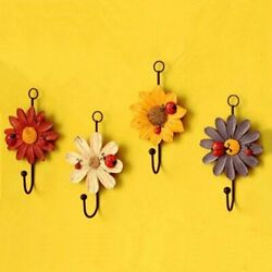 Auch Decorative Wall Hooks Wall Mounted Art Flower Daisy Iron Hook for Hanging