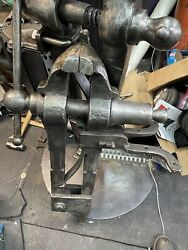 """Will Ship Freight Ask For Quote Huge Rare 7"""" Iron City Blacksmith Post Leg Vise"""