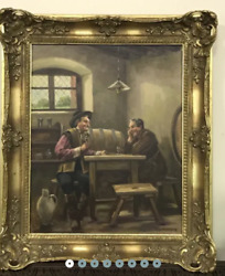 Rare Vintage Antique Rare Original Canvas Old Oil Painting Wood Germany Signed