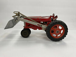 Vintage Hubley Kiddie Toy Farm Tractor - No. 500 - With Front Loader
