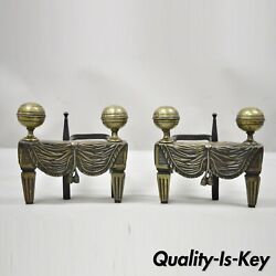 French Empire Bronze Drape And Tassel Cannonball Chenet Small Andirons - A Pair