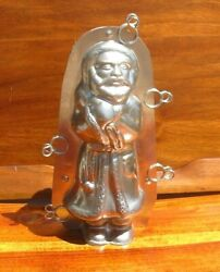 Vintage Chocolate Mold Santa Belsnickle Wearing Robe With Bag 9 Inches