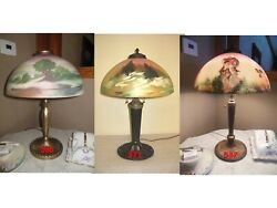 Antique Pittsburgh Obverse Painted Not Reverse Painted Lamp - Double Signed