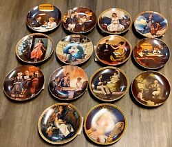 Vintage Lot 14 Knowles Norman Rockwell Collector Plates, Hangers And Coa's- Nic