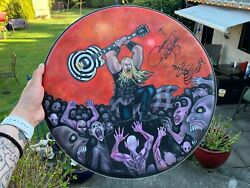 Zakk Wylde Signed Autographed Custom Painted 18and039 Massive Drumhead Rare