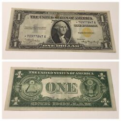 Vintage Rare Africa Star 1 1935-a Silver Certificate One Dollar Yellow Seal
