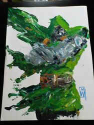 Dr. Doom Fantastic Four 5 12x16 Original Abstract Painting By Mike Wehner