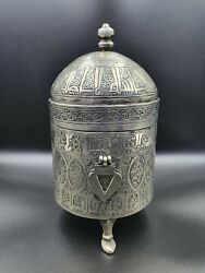 Beautiful Unique White Metal Handmade Old Box With Amazing Art From Afghanistan