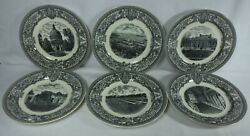 Spode China Us Naval Academy Black Complete Set Of 6 Display Plates - 10-1/2