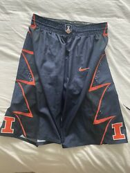Illinois Nike Authentic College Basketball Game Worn Shorts Team Issued