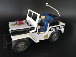 Tn Nomura Japan 1960andrsquos Tinplate Police Dept Jeep - Good Working Condition
