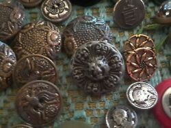 Antique Vintage Buttons Old Lot 10+ Lbs Andnbsp Unusual Figural Metal Military...