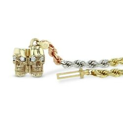 Skull Dimond Tri Tone Gold Rope Chain Necklace Solid 14k 30