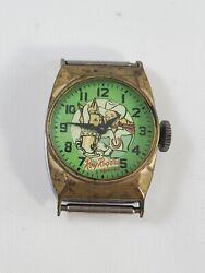 Vintage Roy Rogers And Trigger Watch Green Face Antique Collectible Memorabilia.