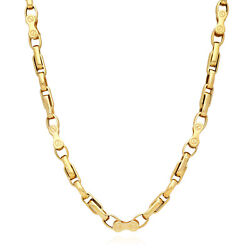 14k Yellow Gold 6mm Bike And Oval Link Chain Necklace 24