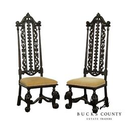 Antique Carved Mahogany Jacobean Revival High Back Pair Hall Chairs