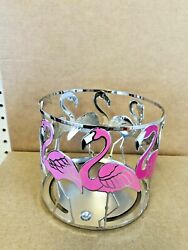 Bath amp; Body Works Candle Holder Flamingo Pink Metal Silver Large 3 Wick Sleeve