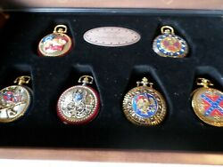 Franklin Mint Heroes Of The Confederacy Pocket Watch Set 6 And Display Case