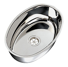 Marine Boat Stainless Steel Sink Oval Outside 385x265mm 130mm
