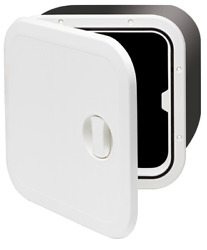 Marine Boat Plastic Hatch 374x374x250mm 1 Handle 180 White Cover Hinge Removable