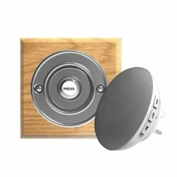 Traditional High Quality Square Wireless Doorbell In Honey Oak And Chrome