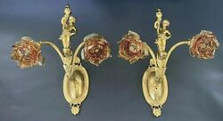 Antique French Victorian Brass Sconces Cherub With Torch And Amber Glass Shades