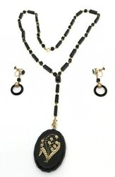 19th Century Victorian Onyx, Gold, And Pearl Mourning Necklace And Earrings Rare