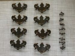 Antique Batwing Chippendale Style Brass Drop Bail Drawer Pulls/handles Lot/8