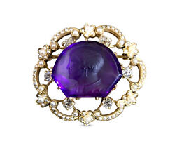 C.1900 Edwardian Carved Amethyst Cameo 14k Gold Brooch, Pearls And Diamonds Rare