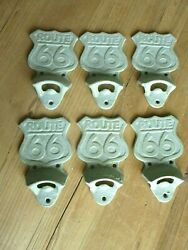 6 Route 66 Bottle Opener Cast Iron Antique Green Finish Wall Mounted Bar Decor