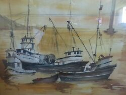 Huge Philip Frey P. Frey Signed Nautical Water Color Painting Gorgeous Colors F