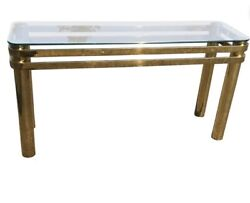 Mcm 1980andrsquos Milo Baughman Style Modern Brass And Glass Rectangular Console Table