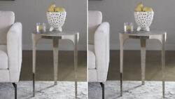 Two Agra 24 Modern Industrial Inspired Sleek Metal Accent End Table Uttermost
