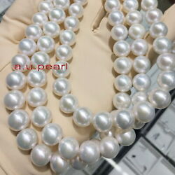 Long Aaaaa 3514-12mm Round Real Natural South Sea White Pearl Necklace 14k