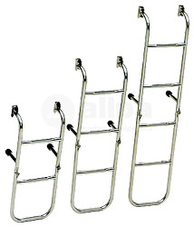 Marine Boat Stainless Steel Bathing Ladder 4-steps Fixed Transom Support 20mm