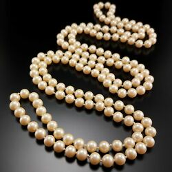 Vintage Glass Pearl Flapper Necklace Long Champagne Hand Knotted Strand Jewelry