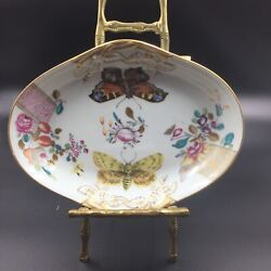 Vista Alegre Portugal For Mottahedeh Oval Butterfly/moth Dish - Lowestoft Rose