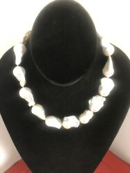 Freshwater Baroque Pearl Necklace 17andrdquo Barrel Closure One Of A Kind Hand Crafted