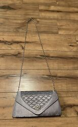 New Pretty Silver Evening Clutch Purse With Silver Chain NEW *WOW* $14.99