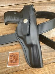 Custom Tauris Plain Black Leather Lined Standard Hip Holster For Walther P38