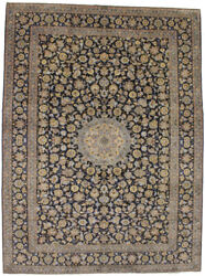 Semi Antique Traditional Navy Blue 10x14 Hand Knotted Area Rug Oriental Carpet