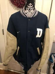 Nike Team Dallas Cowboys Letterman Varsity Jacket Wool Leather Quilted Men's L